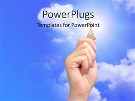 PowerPlugs: PowerPoint template with hand holds up gold key over blue cloudy sky