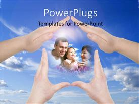 PowerPlugs: PowerPoint template with hand home gestures showing family concept with sky