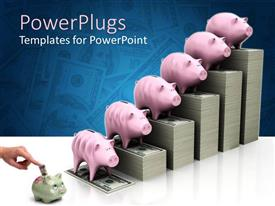 PowerPoint template displaying hand inserting money bill in small grey piggy bank and increasing money bill stacks with pink piggy banks on each stack of money