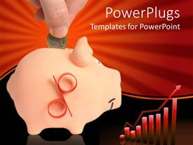 PowerPlugs: PowerPoint template with hand inserting one euro coin in piggy bank and red graphic chart with bars and rising arrow