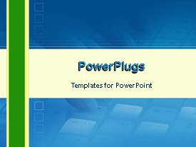 PowerPoint template displaying hand on keyboard with animated blue background