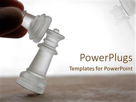 PowerPlugs: PowerPoint template with hand knocking down chess piece, game, competition