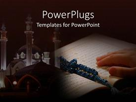 PowerPlugs: PowerPoint template with hand on Koran with prayer beads and a temple in the background