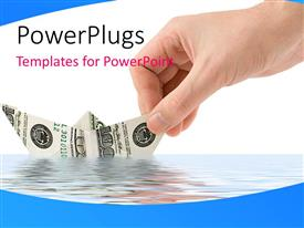 PowerPlugs: PowerPoint template with hand places paper boat made with dollar bill in sea