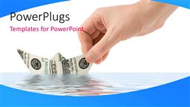 PowerPoint template displaying hand places paper boat made with dollar bill in sea