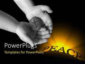 PowerPoint template displaying hand of little child holding rock with cross engraved and word PEACE