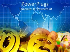 PowerPlugs: PowerPoint template with a hand and lots of gold colored @ symbols on a blue map background