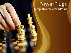 PowerPoint template displaying a hand moving a chess piece on a chess board