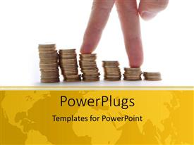PowerPlugs: PowerPoint template with hand over chart formed from pile of gold coins and world map