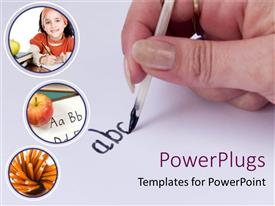 PowerPoint template displaying hand with pen writing ABC, student writing, apple with handwriting, pencils, education, school, teaching