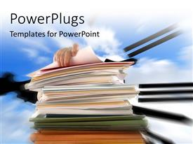 PowerPlugs: PowerPoint template with hand on pile of office documents over blue cloudy sky