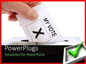 PowerPlugs: PowerPoint template with a Hand placing a voting slip into a ballot box over a white background