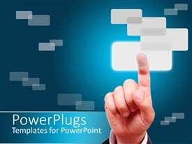 PowerPlugs: PowerPoint template with a hand pressing a button with a number of buttons in the background