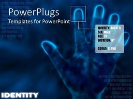 PowerPlugs: PowerPoint template with a hand print in the background with the identification of the person