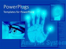 PowerPlugs: PowerPoint template with a hand print with bluish background and place for text
