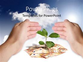 PowerPlugs: PowerPoint template with hand protecting green plant sprouting from currency notes on white surface