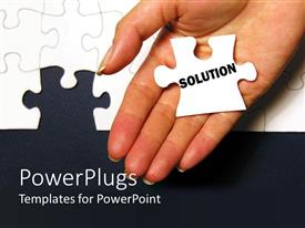PowerPlugs: PowerPoint template with a hand with a puzzle piece with the word solution on it