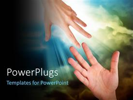 PowerPlugs: PowerPoint template with hand is reaching out or grabbing for help from another hand in the sky