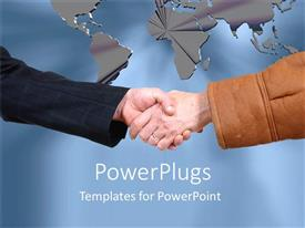 PowerPlugs: PowerPoint template with a hand shake with a map in background