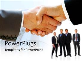 PowerPlugs: PowerPoint template with a hand shake with professionals in the background