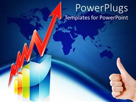 PowerPlugs: PowerPoint template with hand showing thumbs up sign next to red arrow indicating dramatic growth
