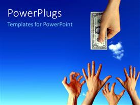 PowerPlugs: PowerPoint template with a hand stretching out a dollar bill to people
