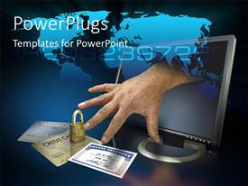 PowerPoint template displaying a hand stretching out of a monitor to credit cards