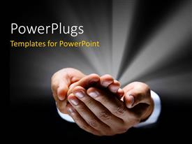 PowerPlugs: PowerPoint template with a pair of hands with greyish background