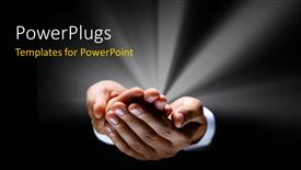 PowerPoint template displaying a pair of hands with greyish background