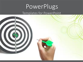 Presentation theme having hand throwing green colored darts to hit bulls eye of target