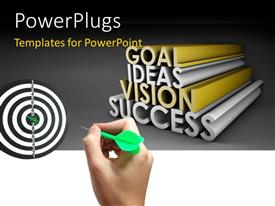 PowerPlugs: PowerPoint template with hand throwing green dart to bulls eye of black and white target