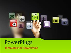 PowerPlugs: PowerPoint template with hand touching Home icon on touch screen