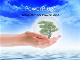 PowerPlugs: PowerPoint template with a hand with a tree and a sea in the background