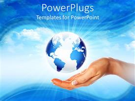 PowerPlugs: PowerPoint template with a hand trying to hold the Earth