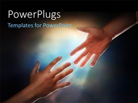 PowerPlugs: PowerPoint template with a hand trying to hold the other one with sky in the background