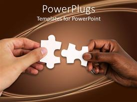 PowerPlugs: PowerPoint template with hand of a white person and a black person uniting jigsaw puzzle pieces together