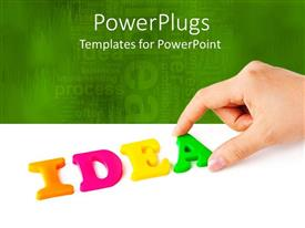 PowerPlugs: PowerPoint template with hand working on colorful tiles of IDEA with white and green background
