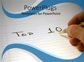 PowerPlugs: PowerPoint template with hand writing with pen on notepad