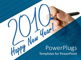 PowerPlugs: PowerPoint template with hand writing text happy new year 2010 with blue pen