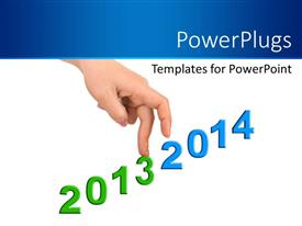 PowerPlugs: PowerPoint template with hand with years 2013 and 2014 forming stairs on white background
