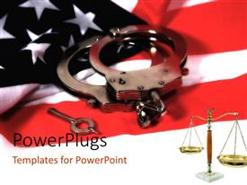 PowerPoint template displaying handcuffs and key on American flag with law weighing scale