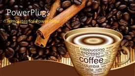 PowerPoint template displaying close-up of steaming coffee in cup with coffee beans in background