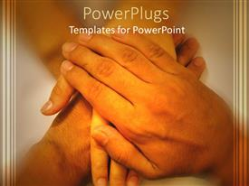 PowerPlugs: PowerPoint template with hands of a family, parents and child hands stacked on each other