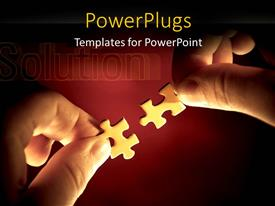 PowerPlugs: PowerPoint template with hands fitting two puzzle pieces together with solution in background