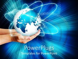 PowerPlugs: PowerPoint template with hands holding globe showing communication from al around teh world