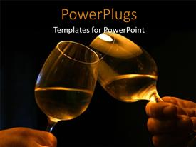 PowerPoint template displaying hands holding wine glasses over black background with glasses clinging