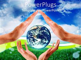 PowerPlugs: PowerPoint template with hands of man and woman protecting Planet Earth globe on green field and blue sky background