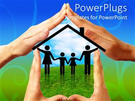 PowerPoint template displaying hands outlining house shape with family silhouettes holding hands