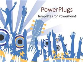 PowerPlugs: PowerPoint template with hands raised in the air for music concert with guitars and light rays on white background