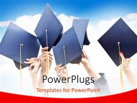 PowerPlugs: PowerPoint template with hands raising graduation caps in celebration over cloudy sky